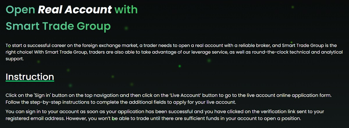 Smart Trade Group account options